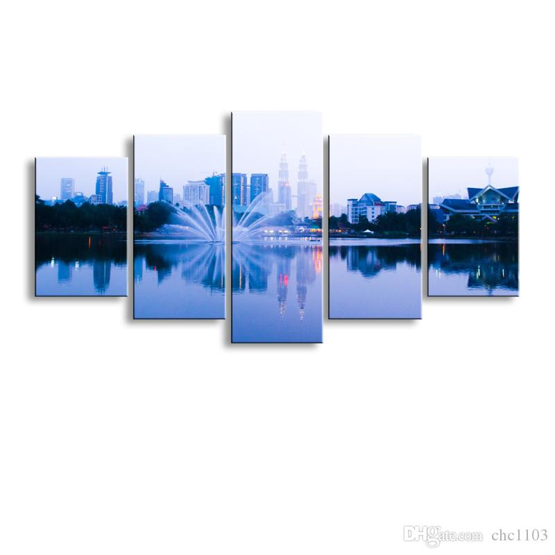 5 pieces high-definition print Sea view canvas oil painting poster and wall art living room picture PL5-153