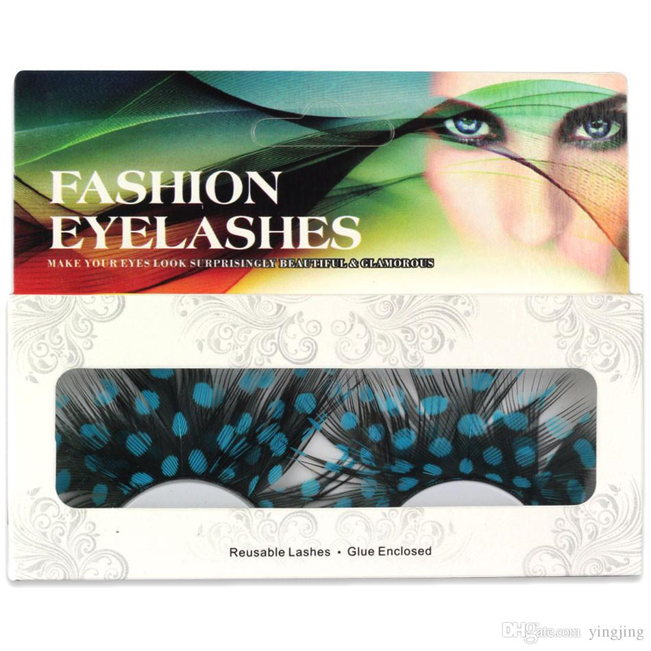 Exaggeration! 1 Pair of Colorful Feathers False Eyelashes Eyelashes Extension Camouflage False Eyelash Stage Craft Exaggerated Flse Eyelash