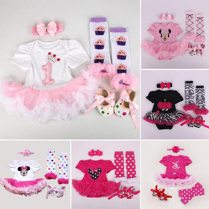 الجملة ، مجموعة ملابس الصيف الوليد الفتيات الرضع تنورة داخلية العصابة أدفأ أحذية توتو رومبير مجموعة 4 قطع مجموعة ملابس الوليد