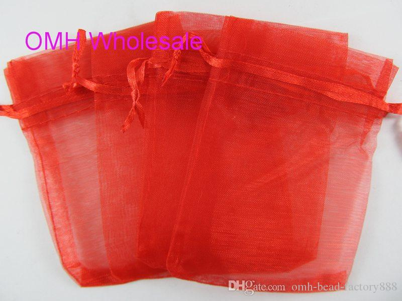 OMH wholesale Big red color beige100pcs 7x9cm nice chinese voile Christmas Wedding gift bag Organza Bags Jewlery Gift Pouch BZ04-2