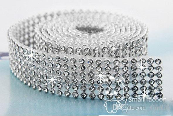 Free Shipping 6 Rows Iron on Rhinestone Mesh Trim Crystal in Silver Base with Back Glue for Bridal Dress,Cake,Wine and Wedding