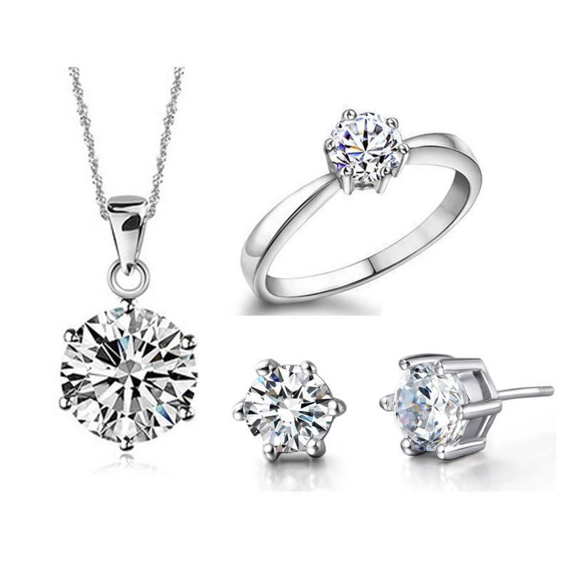 Commercio all'ingrosso NUOVO vestito placcato oro sei artiglio diamante vestito set argento 925 realizzato in Europa