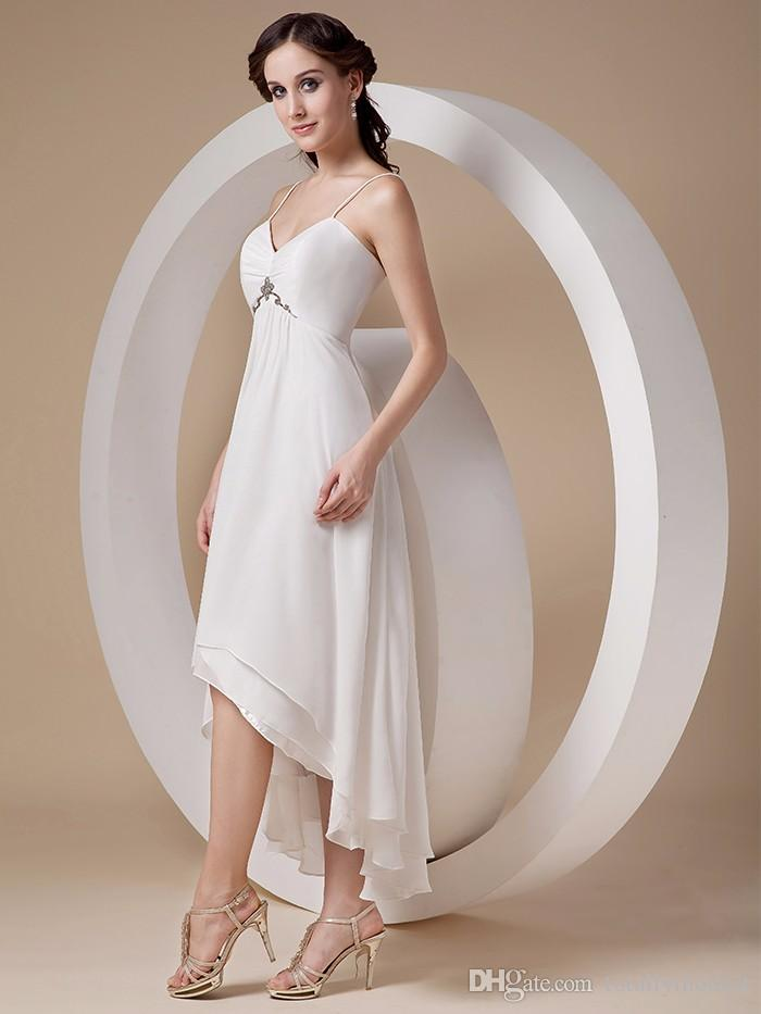 Discount Empire Waist Maternity Beach Wedding Dresses 2017 Sweetheart Spaghetti Straps High Low Informal Simple Second Wedding Dresses For Pregnant