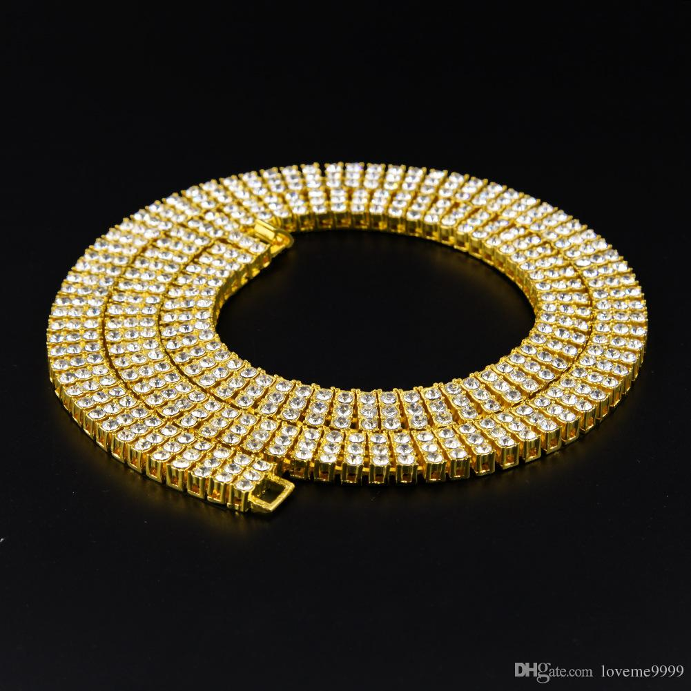 Top-Qualität Mens 3 Reihe Square Stones Diamant Link Hip Hop kubanischen Kette Halskette Rapper Fashion Bling Iced Out Cz Kristall T zeigen Cubra Schmuck