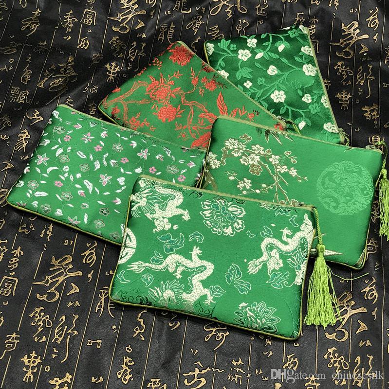 Tassel addensare sacchetto di broccato di seta cinese per il sacchetto del telefono che decora sacchetti regalo per borse di gioielli piccolo sacchetto della chiusura lampo della moneta portamonete 2 pz / lotto