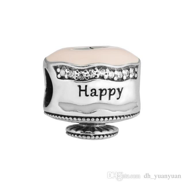 С Днем рождения торт очарование смешанные эмали ясно CZ 2017 весна 100% стерлингового серебра 925 бисера Fit Pandora браслет аутентичные DIY ювелирные изделия