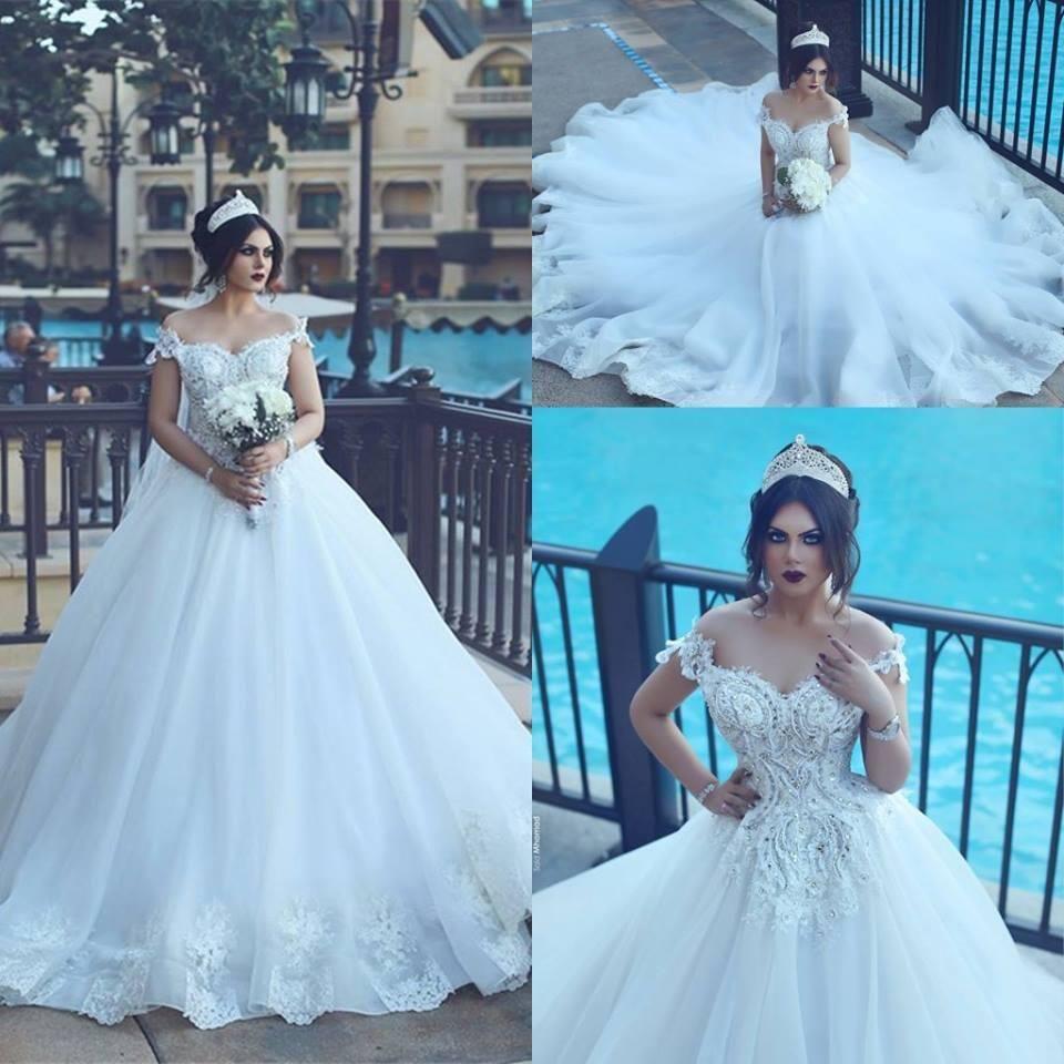 Neue Sonderanfertigung elegant off-the-shoulter Ballkleid Brautkleider 2017 Luxus Kristalle Perlen Tüll Ball Applikationen Hochzeit Brautkleider