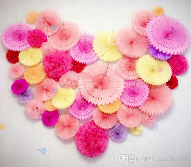 10 pcs casamento supplie layout guirlanda de papel flor bola de casamento pano de fundo festa de aniversário decoração flor guirlanda de papel fãs 15 cm 20 cm 30 cm