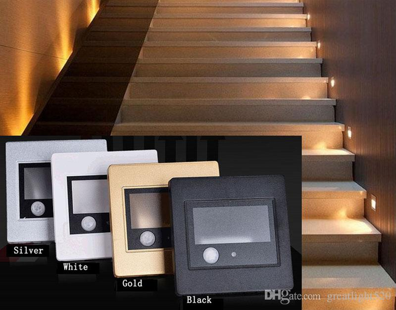 Pir motion dedektör + ışık sensörü kurşun dekorasyon ışık merdiven led kızılötesi insan vücudu indüksiyon adımları ışık kurşun duvar lambası 86 kutu