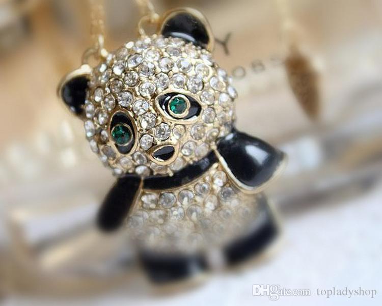 Agradável!!! Bonita!!! Fofa!!! Gotejamento simples e adorável cheio de diamantes amor panda colar camisola cadeia atacado frete grátis