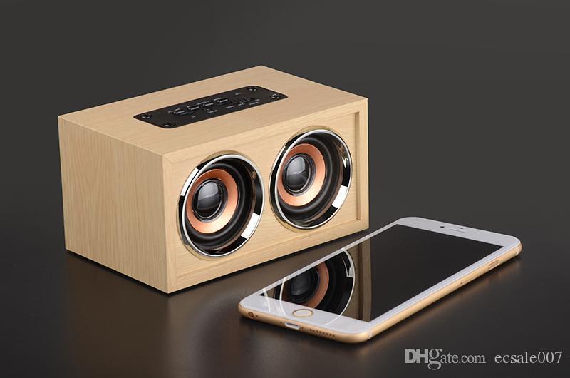 W4 Classic Wood Mini Altavoz Bluetooth Doble altavoces Manos libres Portátiles Portátiles Portátiles Altavoces con tarjeta TF AUX en altavoz