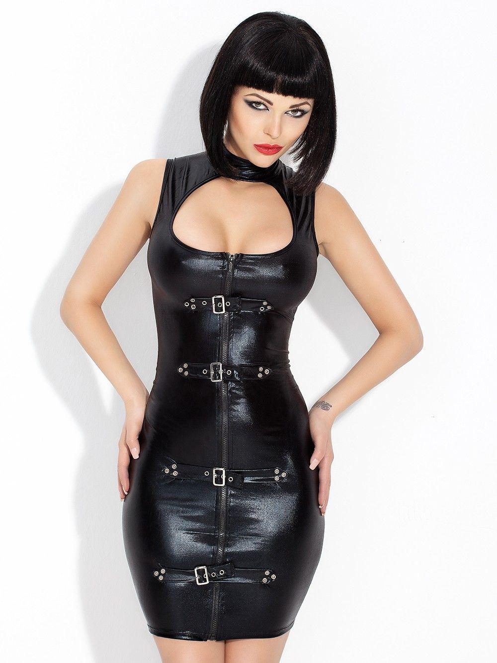 Faux de los trajes atractivos del cuero partido de las mujeres vestido caliente Negro Vinilo atractivas ahuecan hacia fuera ajustado de la mirada mojada del cuello alto de vestuario