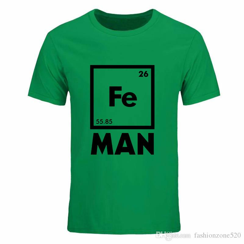 2019 summer casual streetwear funny FE MAN Iron Science Chemistry Fe drake Short Sleeve T-Shirt Tops Tees men t shirt plus size DIY-0145D