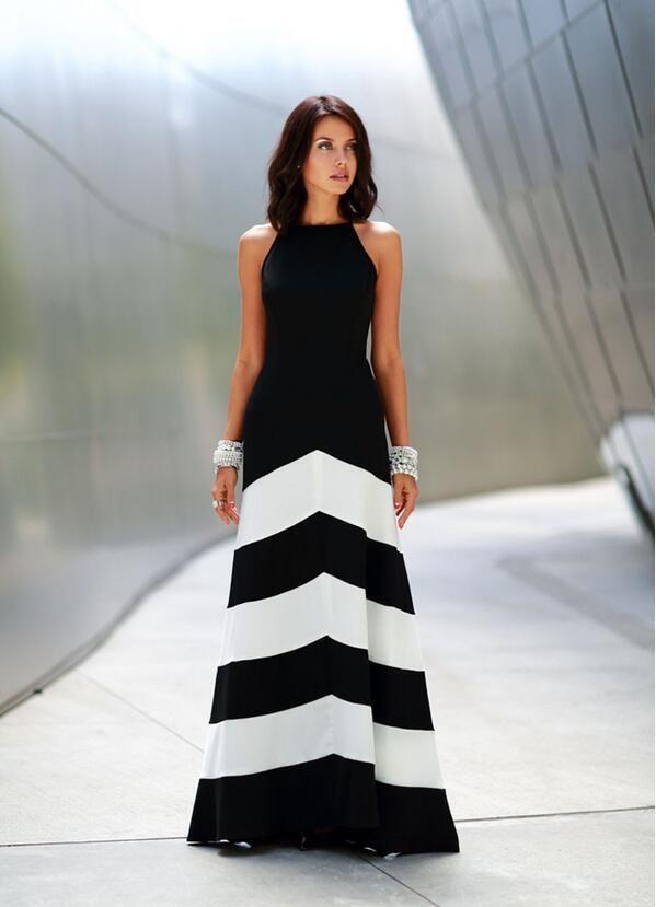 Compre Vestido Maxi Rayas Blanco Y Negro Sin Respaldo Vestido De Verano Vestidos Vestidos Formales Noche Vestido De Noche Largo Maxi Rayas Atractivas