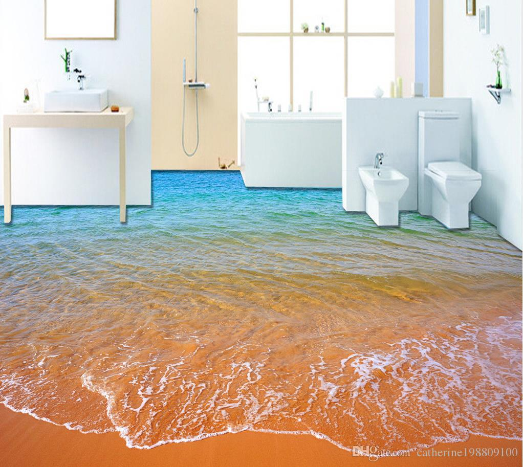 Top Classic 3d European Style Beach Waves 3d Bathroom Floor Painting Wallpaper For Bathroom Waterproof Top Rated Wallpapers High Resolution Top
