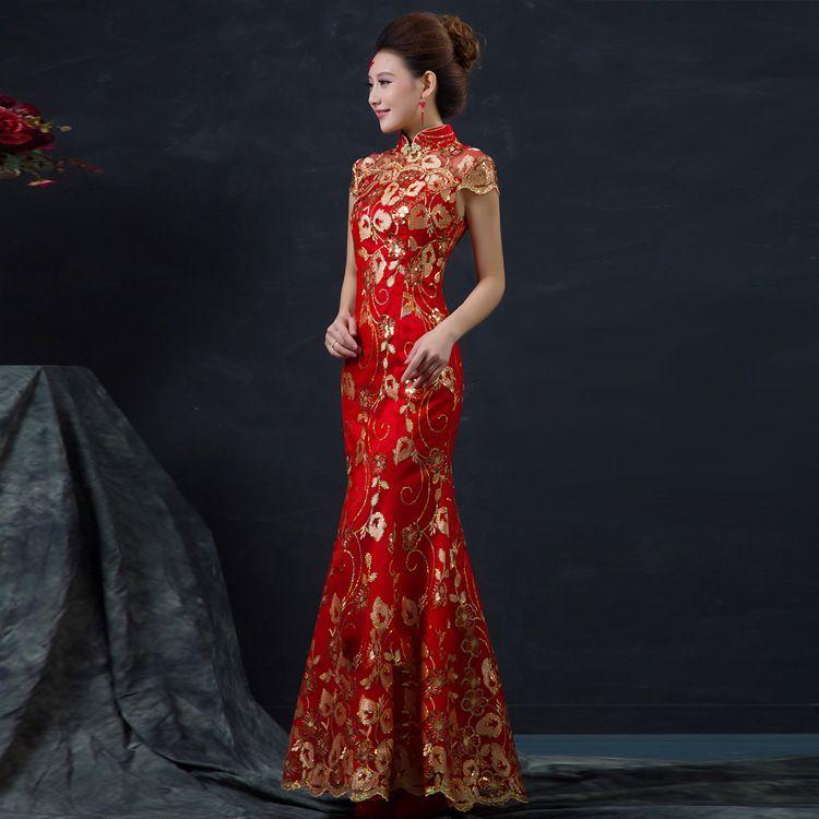 HF819 Red Chinese Wedding Dress Female Long Short Sleeve Cheongsam Gold Slim Chinese Traditional Dress Women Qipao for Wedding Party 8