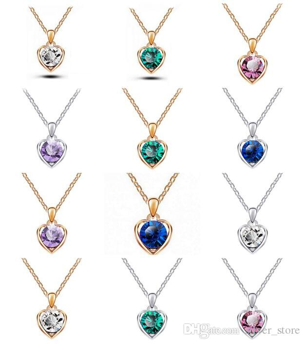 High quality Austrian crystal necklace heart language pendant female alloy ornaments WFN095 (with chain) mix order 20 pieces a lot