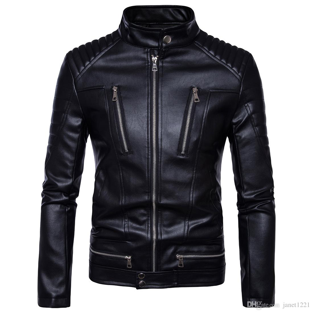 Plus Size Winter Men Faux Jackets Motorcycle Racing Cool Jackets With Multi Zippers Design PU Leather Coats Bomber Jacket J170702