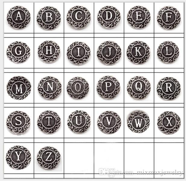 nuovo 26pcs / set alfabeto inglese dalla A alla Z Ginger 18mm bottoni a pressione Chunk Charms Gioielli fai da te nuovo di zecca