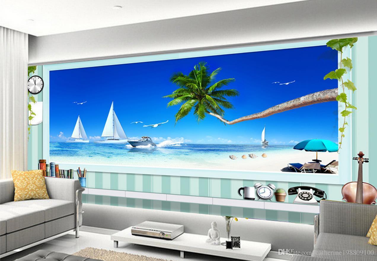 Fashion 3d Home Decor Beautiful 3d Stereo Window Extended Space Blue Ocean Beach