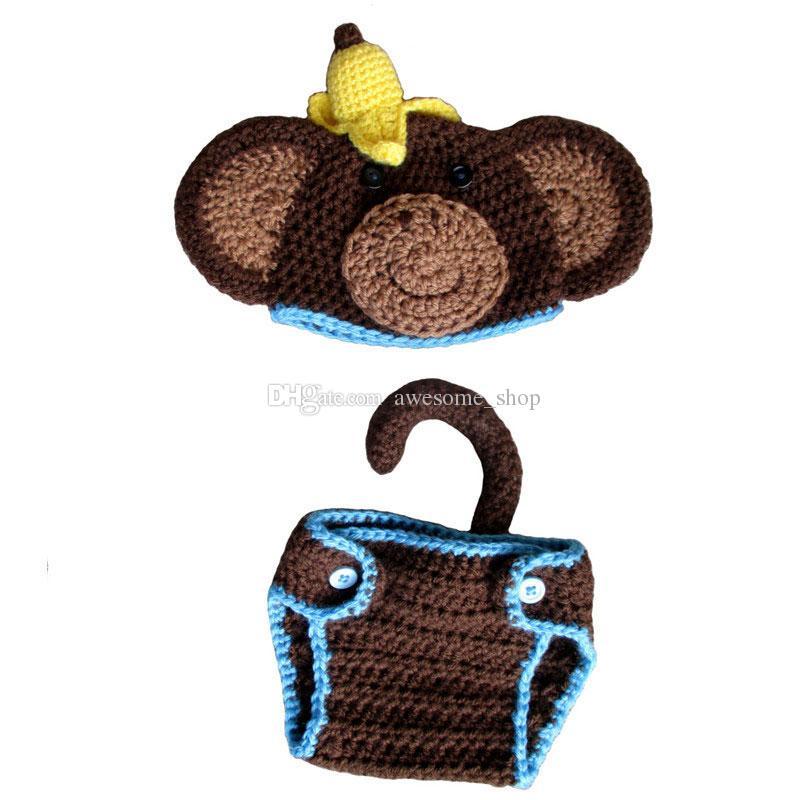 الجدة الوليد حك القرد حلي ، اليدوية الكروشيه بيبي بوي فتاة القرد الحيوان قبعة غطاء حفاظه مجموعة ، الرضع هالوين زي صور الدعامة