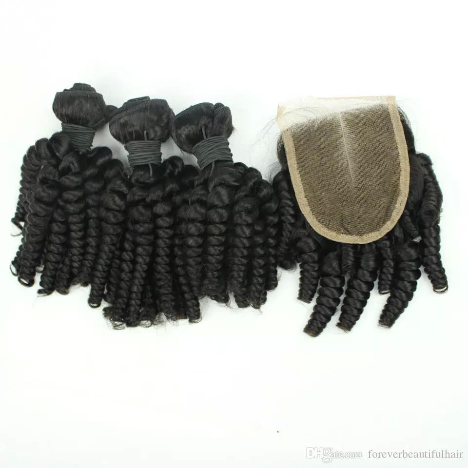Top Grade Free Shipping Double Drawn Weft Curly Virgin Hair Unprocessed Funmi Curl Hair Bundle 3 pcs With Closure