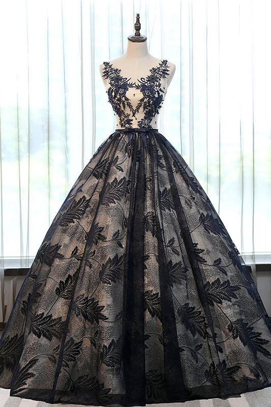 100% vero lusso nero foglia merletto del ricamo corte medievale abito da principessa regina cosplay palla abito abito lungo / abito da ballo
