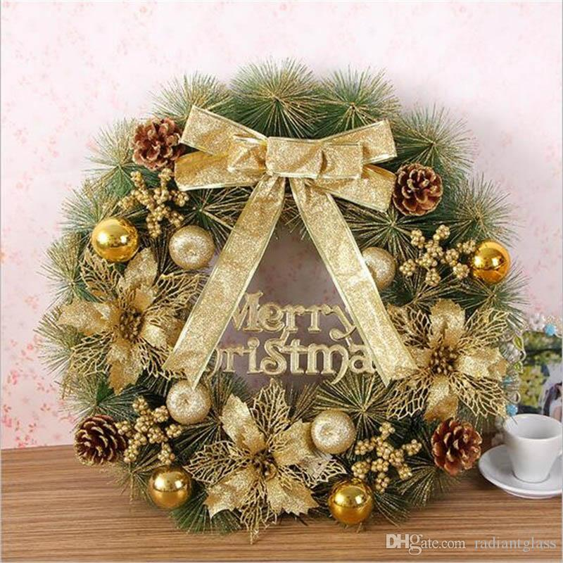Gold Christmas Wreath.2019 Christmas Wreath For Holiday Decorations 50cm Pine Needles Garland Hangings Gold Christmas Decoration Ring Christmas Gift From Radiantglass