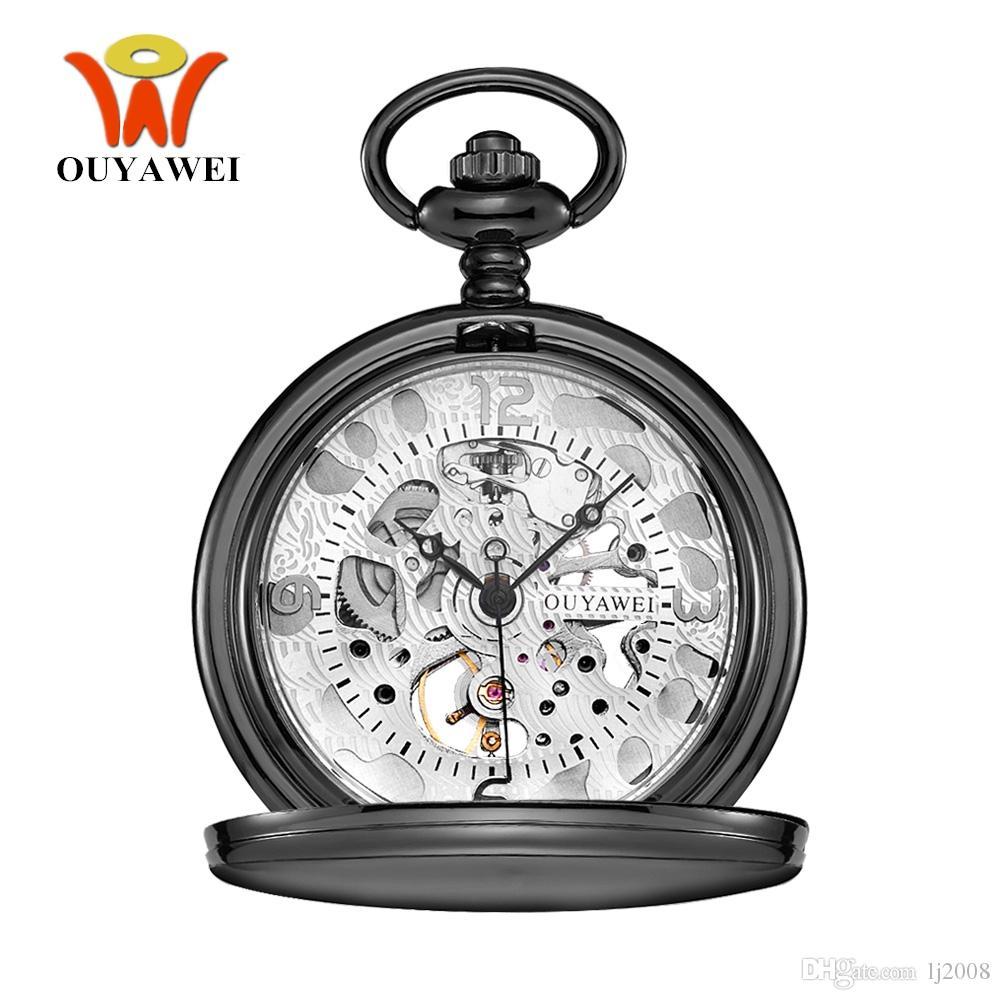 NEW Прибытие OYW Марка Механическая Рука Ветер карманные часы Мужчины ретро Урожай кулон Скелет дизайн Корпус из нержавеющей стали Man Watch