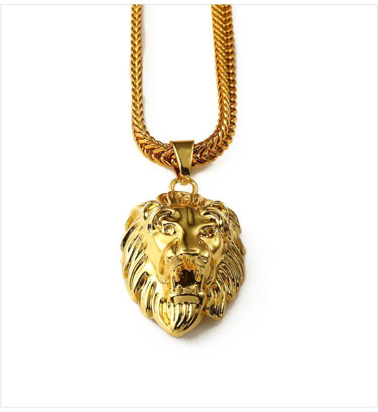 02 hip hop golden lion head pendant necklace