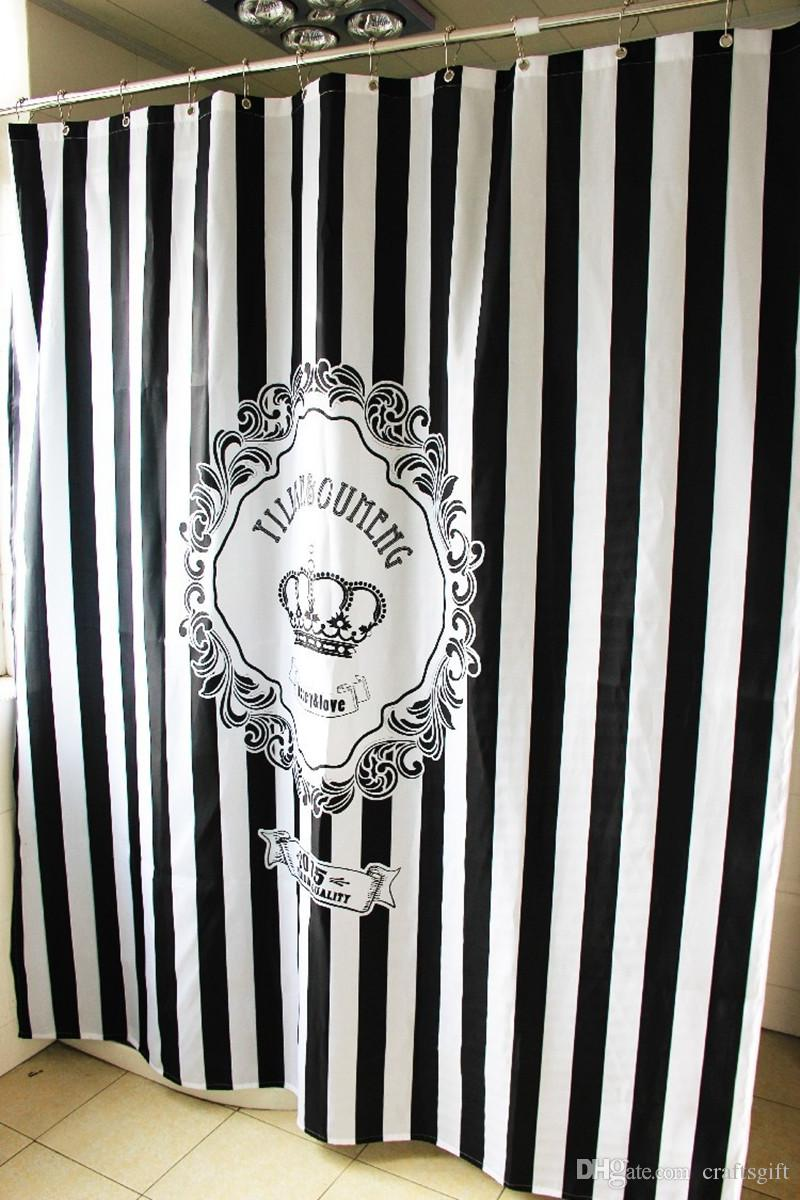 2019 European American Black White Stripes Crown Shower Curtains Fashion Bathroom Hanging Curtain Waterproof Bath Shower Curtain Polyester From