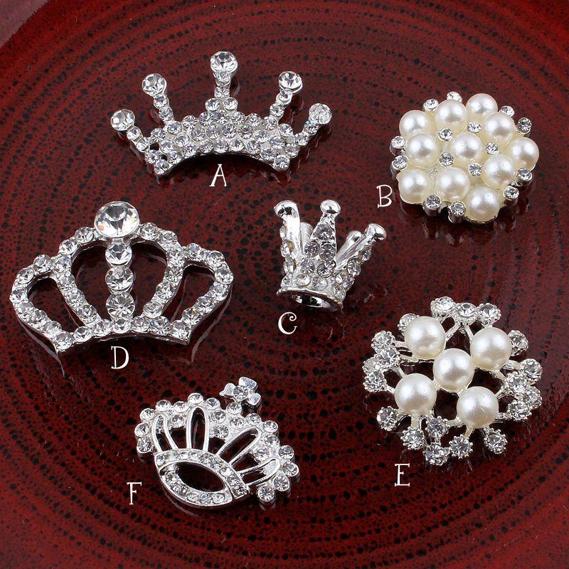 DIY Taç / Yuvarlak / Kar / Çiçek Metal Rhinestone Inci Düğmeler Craft Flatback Kristal Dekoratif Düğmeler Saç Aksesuarları Kullanım DRP01
