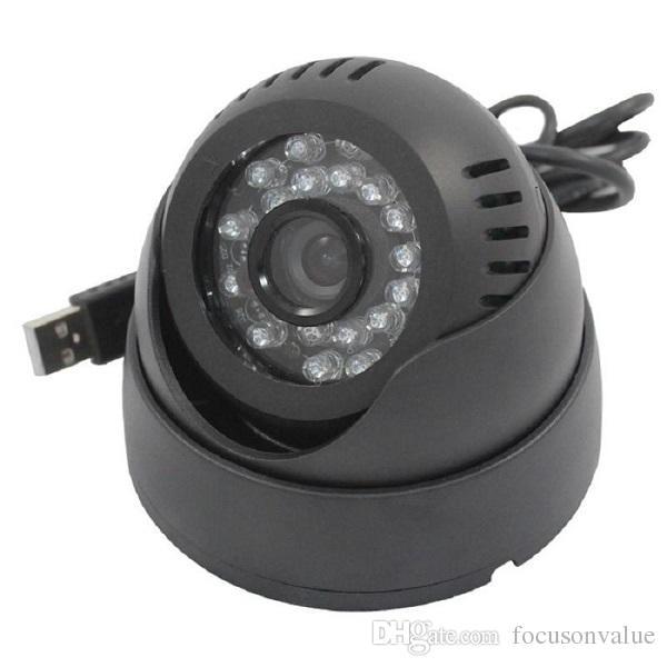 """USB Dome CCTV Camera 1/4"""" CMOS Color 420TVL 24 Leds IR Night Vision Indoor Home security CCTV camera Rotable black white 60pcs"""