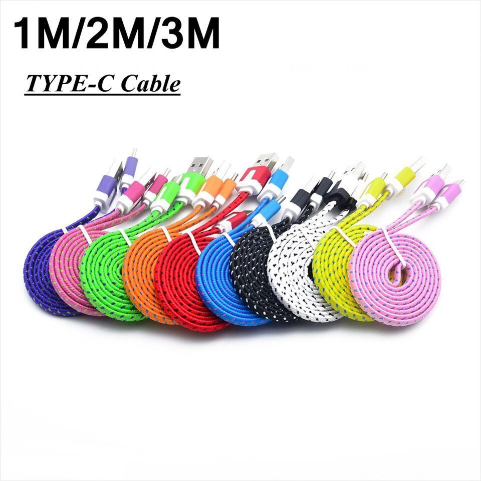 1 m 2 m 3 m type c type-c usb 3.1 Tissu nylon tressé plat USB chargeur de données câble Pour Macbook Letv Nokia N1 en gros