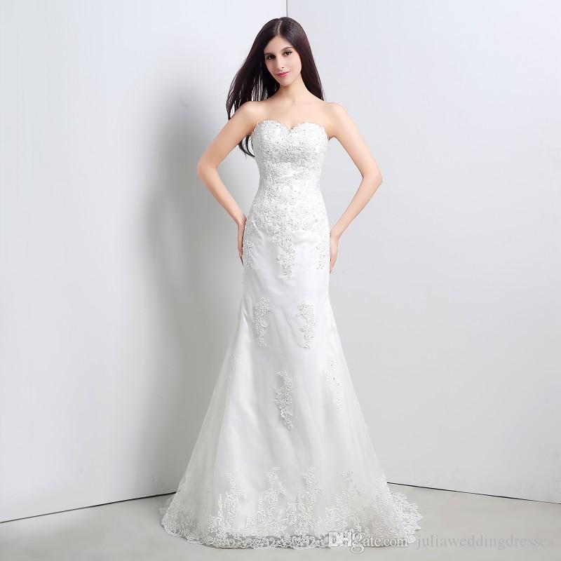 Yeni Beyaz Dantel Mermaid Gelinlik 2017 Sevgiliye Aplikler Düğün Gelin Önlükler Stok 6-16 QC 331