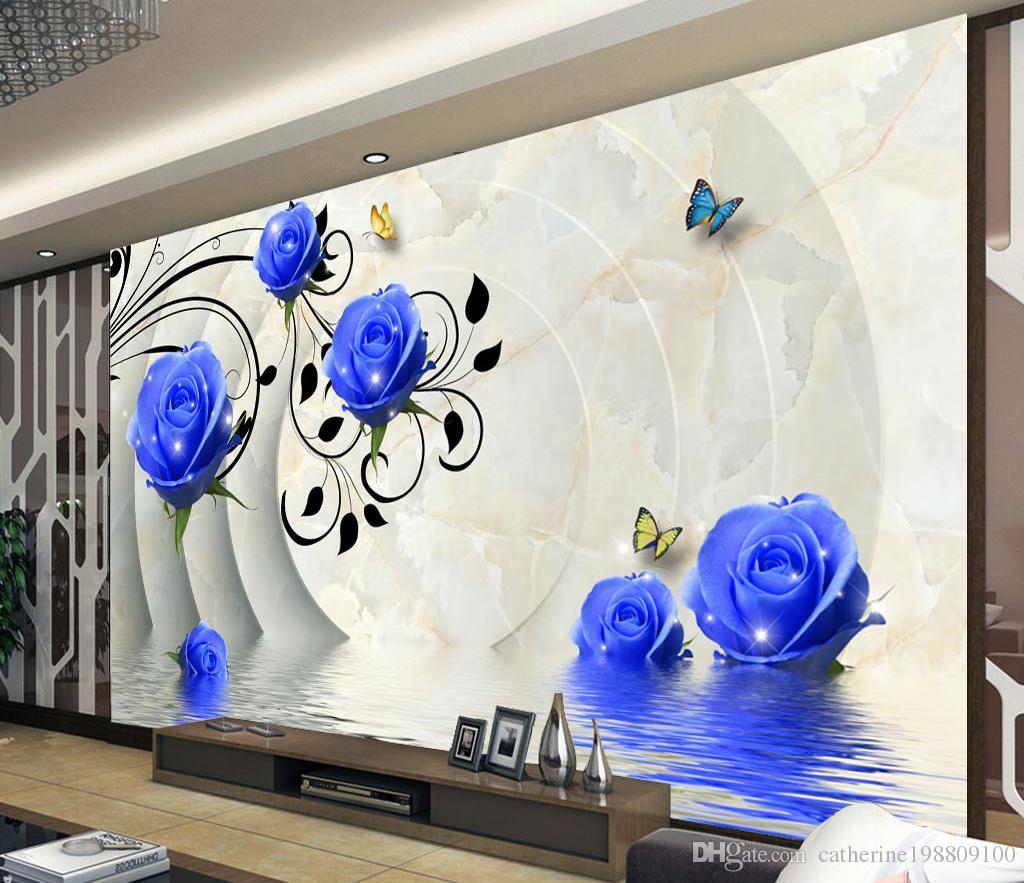 Высокое качество Costom 3D голубые розы фон настенные фрески росписи 3d обои 3D обои Обои для ТВ фон