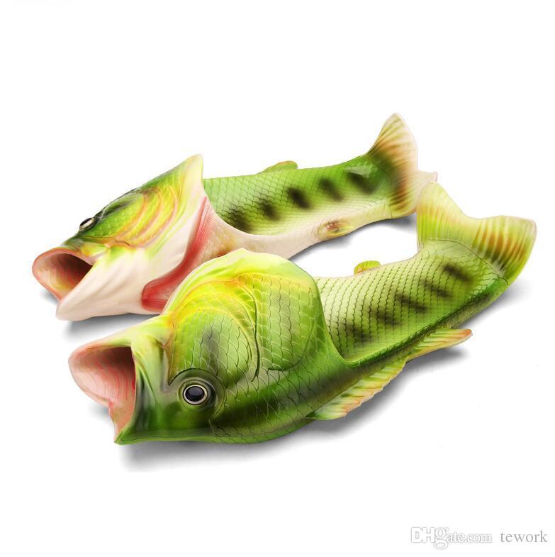 2017 Handmade painted Slippers, fish slippers woman men Personality fish sandals women bling flip flops slides fish beach slippers