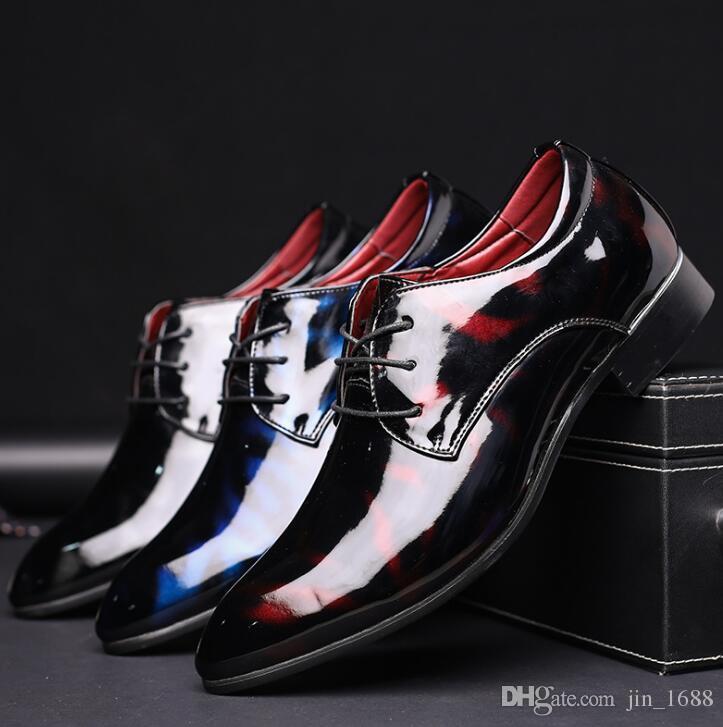 Tallas grandes 38-48 zapatos de vestir de lujo de los hombres de la moda de charol de punta estrecha zapatos de la boda de los hombres zapatos planos zapatos Derby