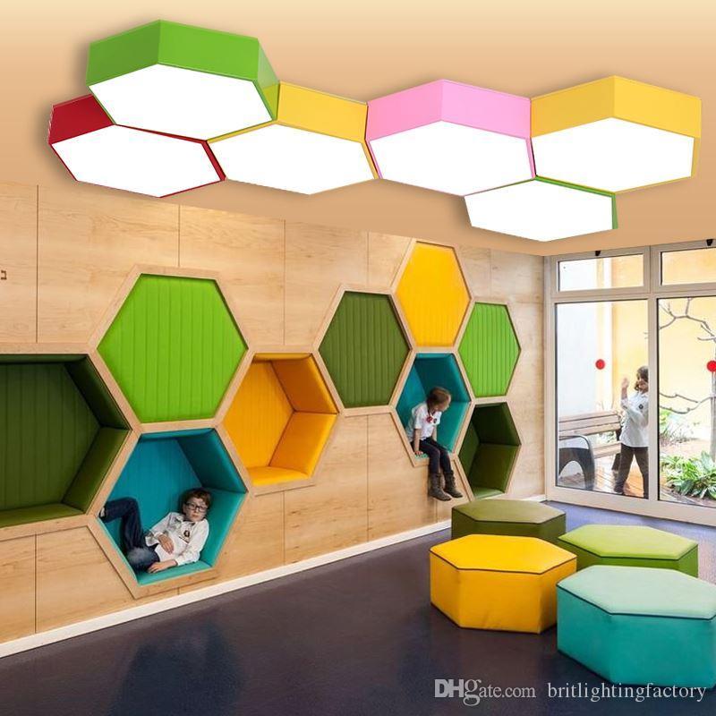 centro creativo di formazione esagono centro di studio lampada da soffitto a led asilo luci da soffitto centro di formazione negozio di abbigliamento ufficio lampade a LED