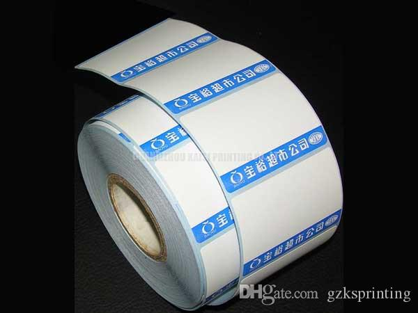 Thermal paper labels stickers printing in high quality Cutom thermal stickers on rolls for supermarket store Heat sensitive die cut stickers