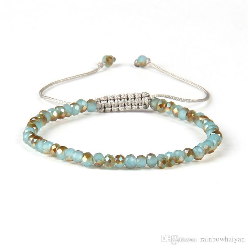 Neue Design Mode Sommer Schmuck Großhandel Mix Farben 6mm Facted Kristall Jade Perlen Makramee Günstige Flechten Armbänder