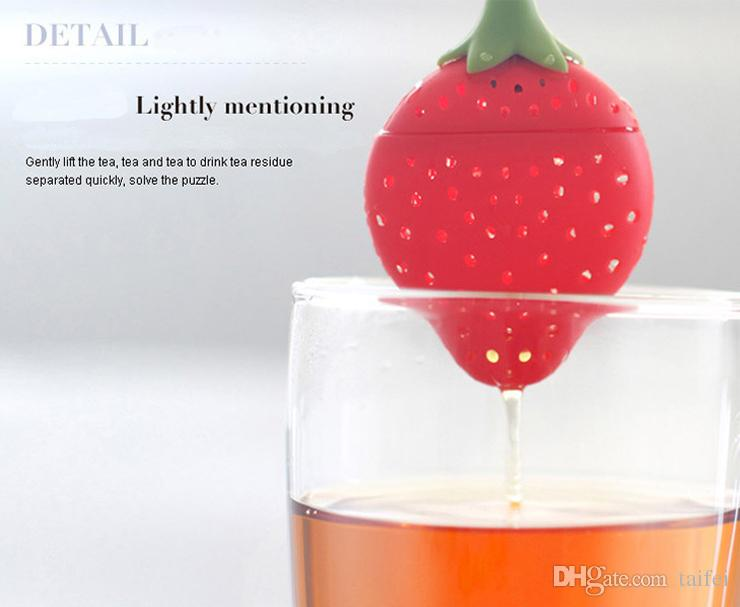 Wholesale Cute Strawberry Shape Silicone Tea Infusers Silicon Tea Tools Strainers Filter Empty Tea Bag Ball