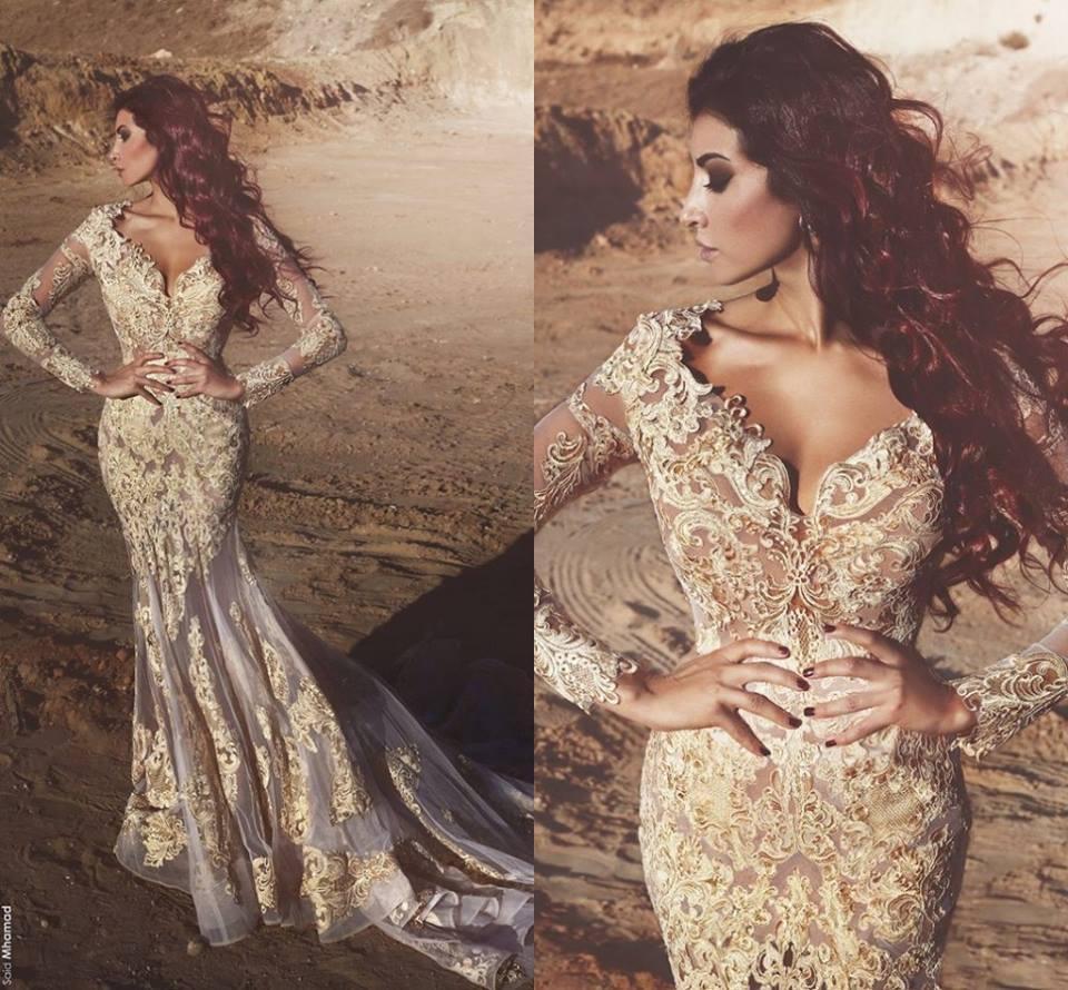 Nuevos vestidos de baile de sirena con cuello en V sexy 2018 apliques de encaje de manga larga vestidos formales vestidos de noche vestidos de fiesta árabe