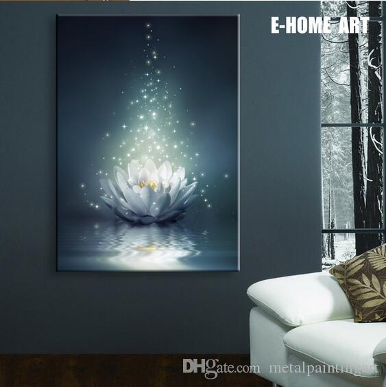 2019 Led Lights Wall Art Canvas Spray Painting Light Up Framed Artwork Peace Of Mind Lotus Canvas Printing For Wall Decor From Metalpaintingart