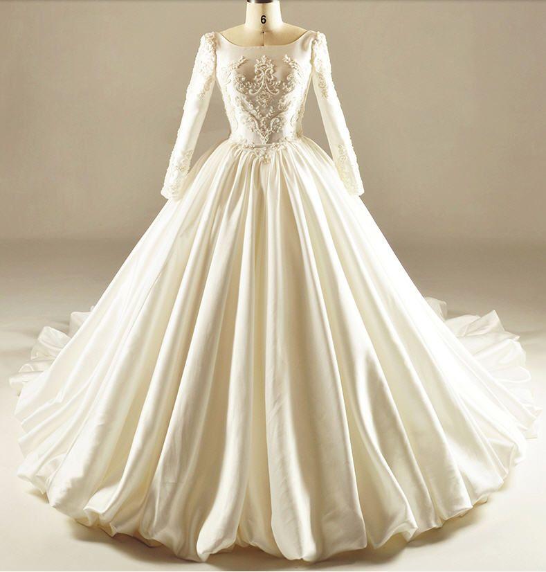 2016 Plus Size Winter Long Sleeve Ball Wedding Dresses Sweep Train ...