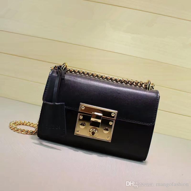 borsa delle donne di marca di trasporto libero borsa a tracolla lucchetto delle donne di alta qualità catena vera pelle borsa a tracolla lucchetto 100% foto reali
