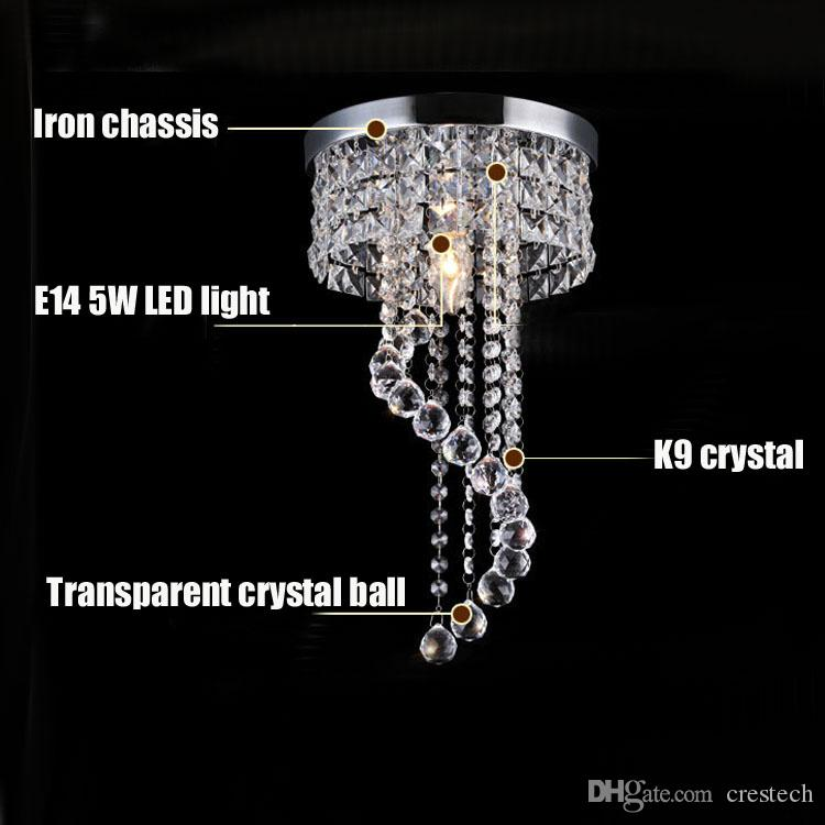 Entrance LED Crystal Chandelier Aisle Ceiling Light Porch Pendant Lamp Fixtures