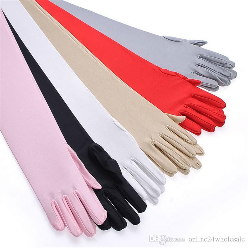 قفازات الحرير طويل فنجر الكوع حماية الشمس أوبرا المساء حفلة موسيقية زي الأزياء قفاز أسود أحمر رمادي التعشيب الأبيض خمسة أصابع قفاز
