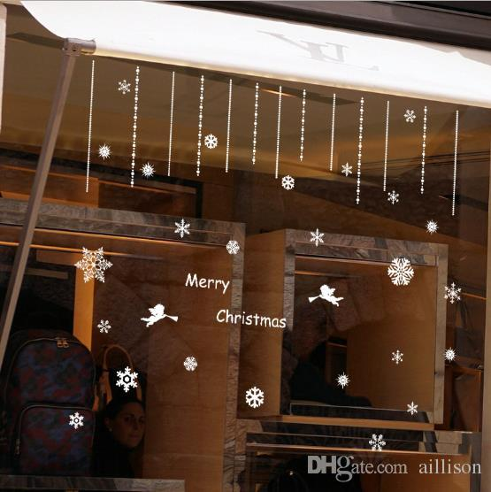 Christmas Wall Stickers White Snowflake Stickers Snow Window Stickers Home Decorations For Hotel Happy New Year Decorations