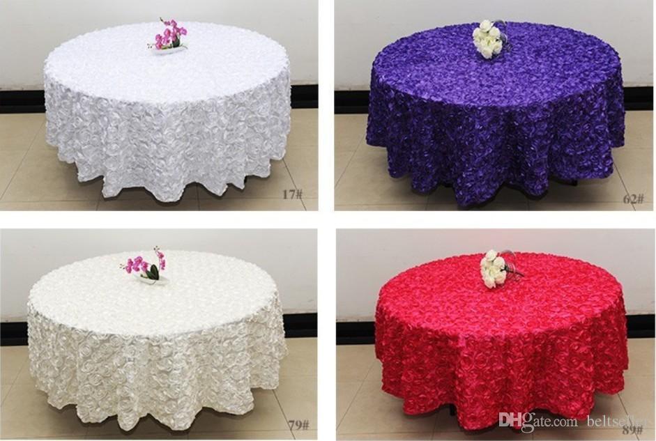 Weiß 2,6m Hochzeit Runde Tischdecke Overlays 3D-Rosen-Blumen-Tischdecken Hochzeit Dekoration Lieferant 7 Farben, die frei